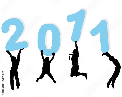 Photo  4 personnes portant 2011 bleu