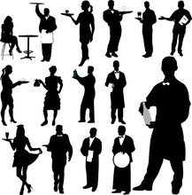Waiters And Waitresses Silhoue...