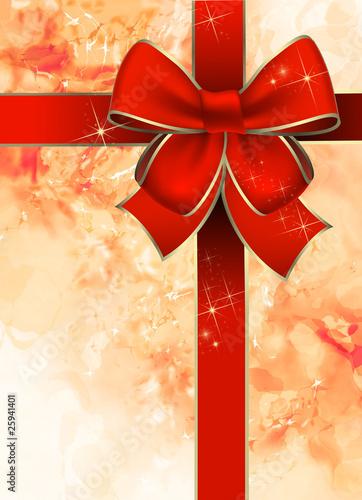 Navidad paquete de regalo con un lazo rojo Canvas Print