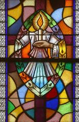 Naklejka Baptism, Seven Sacraments, Stained glass church window