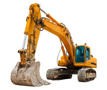 Yellow Excavator At Constructi...