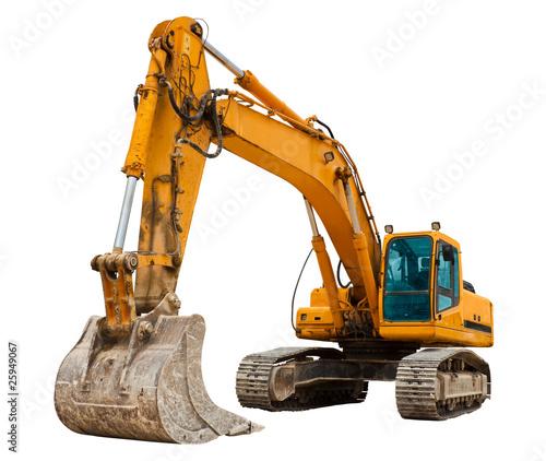 Stampa su Tela Yellow Excavator at Construction Site