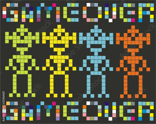 Foto op Aluminium Pixel game over (retro games)