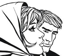 Ilustración Con Una Pareja De Enamorados