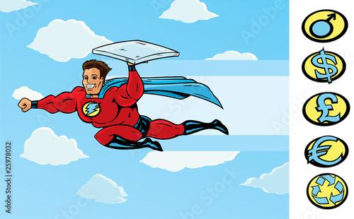 Staande foto Superheroes Super Delivery guy delivering pizza or anything else.