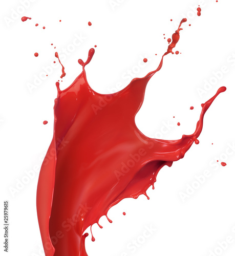 Poster Vormen red paint splash