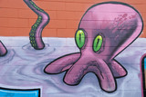 Graffiti Octopus with Green eyes