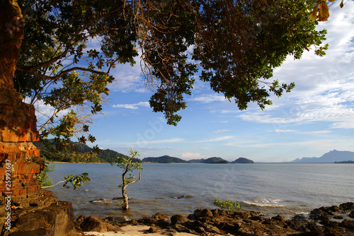 Foto op Aluminium Cathedral Cove The sea of coast of peninsula Santubong. Borneo.