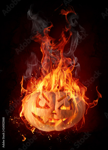 Recess Fitting Flame Burning pumpkin