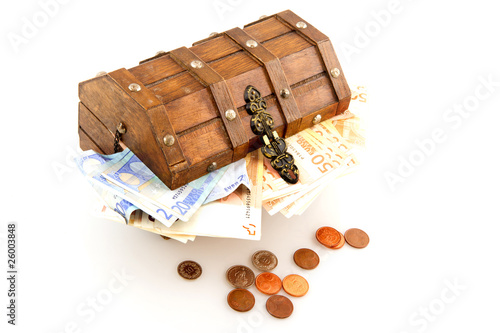 Tuinposter Egypte Money box with Euros