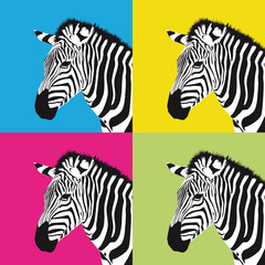 Panel Szklany pop art zebra