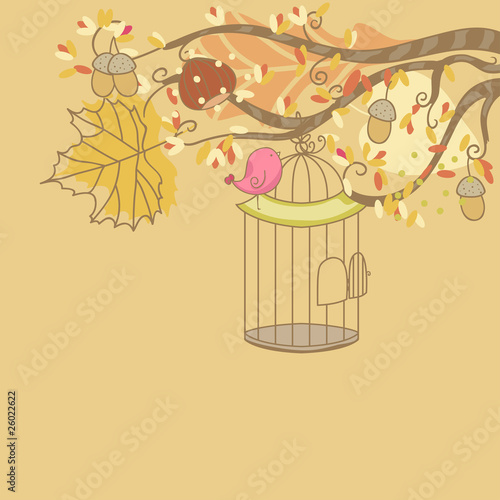 Poster Birds in cages autumn card with bird and birdcage