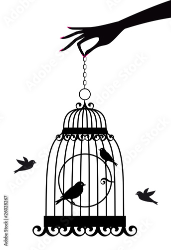 Acrylic Prints Birds in cages hand with birdcage, vector