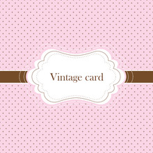 Pink And	Brown  Vintage Card, Polka Dot Design
