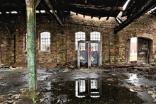 Smashed Toilets In A Derelict Warehouse