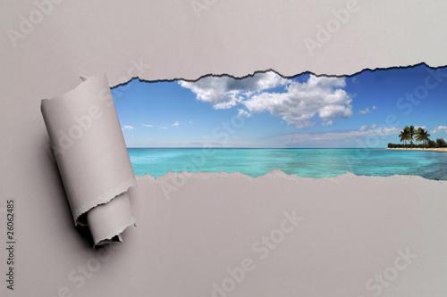 Fotografie, Obraz  Torn Paper With Caribbean background