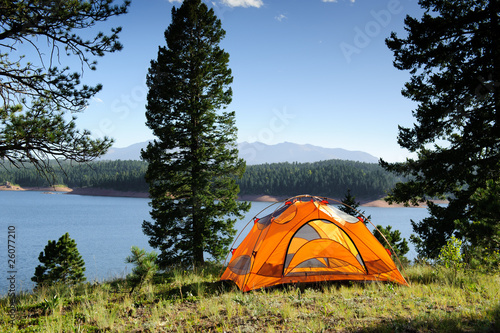 Fotobehang Kamperen Camping Tent by the Lake