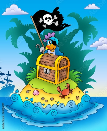 Fotobehang Piraten Small island with chest and parrot