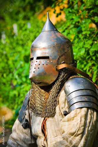 man in knight's helmet