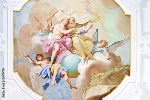 fresk-anioly-siedzace-na-chmurach