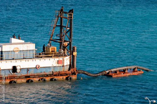 Fotografia, Obraz  Dredging Operation in Deep Blue Sea