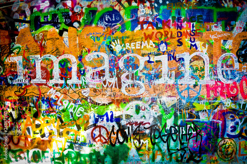 Canvas Print Muro de John Lennon (Praga) - Imagine (Toma 1)