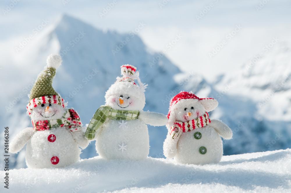 Foto-Doppelrollo - Happy snowmans in mountain