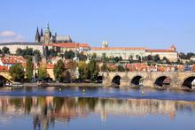 Autumn Prague Gothic Castle With The Charles Bridge