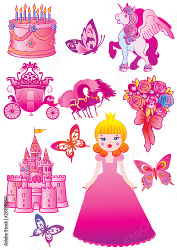 Garden Poster Castle Fairy princess collection. Vector art-illustration.
