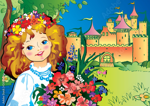 Poster Castle Beautiful girl with flowers. Vector art-illustration.