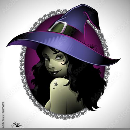 Fotografie, Obraz  Vintage illustration of a sexy witch