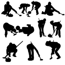 Curling Silhouette Set