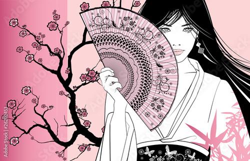 Acrylic Prints Art Studio geisha on a pink floral background