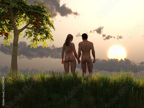 Canvas-taulu Adam and Eve in eden