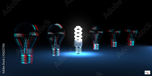 Photo Efficient Light Concept (anaglyph stereo)