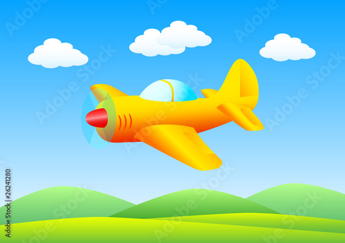 Papiers peints Avion, ballon Flying orange plane