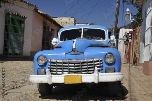 Deurstickers Cubaanse oldtimers auto bleue 2
