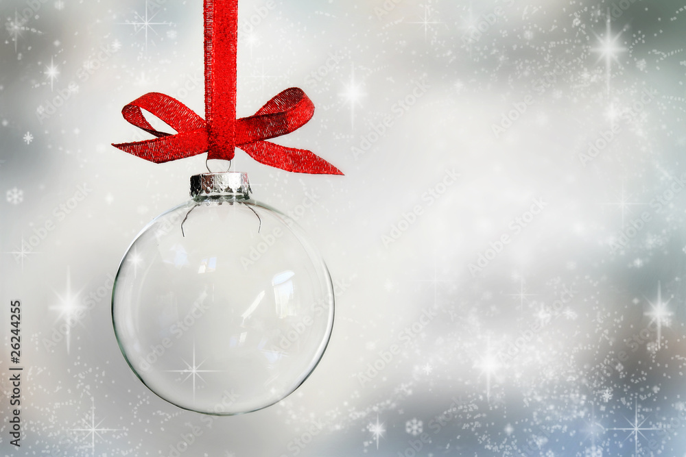 Fototapety, obrazy: Transparent Christmas ball ornament on snowy background