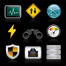 Network Icons On Black