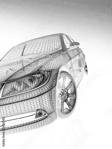 Naklejka premium widok z przodu nowoczesnych modeli samochodów
