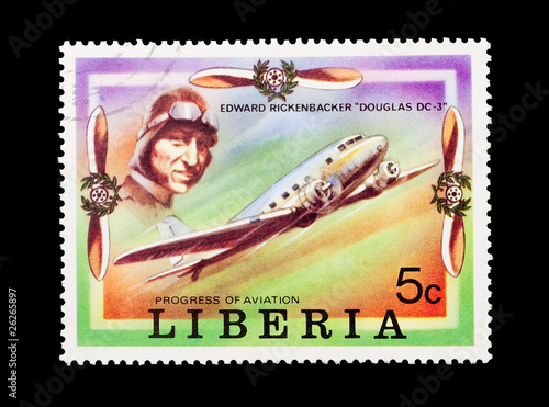 Photo  Liberian stamp featuring aviation pioneer Edward Rickenbacker