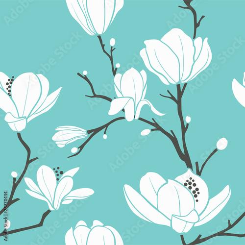 niebieski wzór magnolii