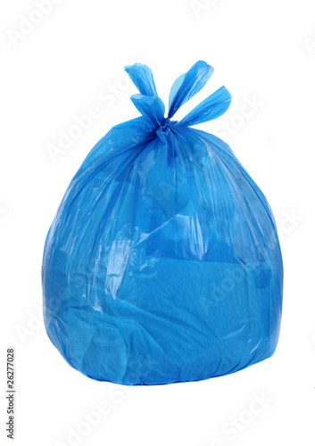 Fototapety, obrazy: blue garbage bag isolated on a white background