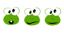 Head Of A Little Cute Frogs Vector Illustration