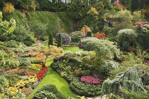 Fotobehang Tuin The Sunken-garden on island Vancouver