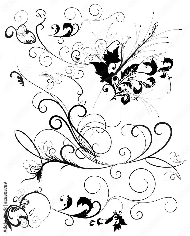 Decorazioni Floreali Vettoriali Wall Mural Wallpaper Murals Graphic Jet