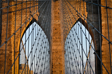 Obraz na SzkleNew York City - Brooklyn Bridge (Älteste Hängebrücke der USA)