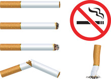 """Set Of Cigarettes And The Sign """"No Smoking"""""""