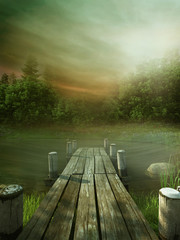 Naklejka Drewniane molo na jeziorze