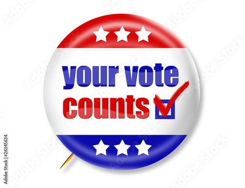 Fotografie, Obraz  Your Vote Counts BUTTON